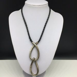Chico's Black Braided Leather Cord Necklace
